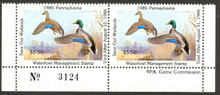 Pennsylvania Duck Stamp 1985 Mallards Horizontal Pair with Plate #