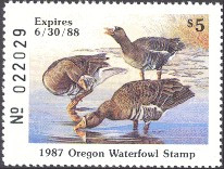 Oregon Duck Stamp 1987 White - Fronted Goose