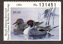 North Dakota Duck Stamp 1986 Pintails Hunter type