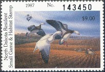 North Dakota Duck Stamp 1987 Snow Geese