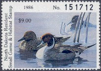 North Dakota Duck Stamp 1986 Pintails