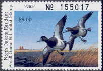 North Dakota Duck Stamp 1985 Blue Bills