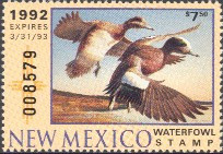 New Mexico Duck Stamp 1992 American Wigeon