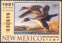 New Mexico Duck Stamp 1991 Pintails