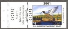New Hampshire Duck Stamp 2001 Blue - Winged Teal Hunter type with full tab