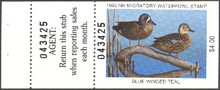 New Hampshire Duck Stamp 1985 Blue - Winged Teal Hunter type with full tab