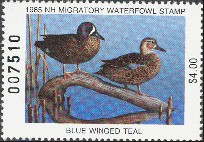 New Hampshire Duck Stamp 1985 Blue - Winged Teal