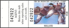 New Hampshire Duck Stamp 1984 Mallards Hunter type with full tab