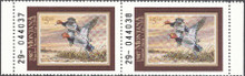 Montana Duck Stamp 1987 Redheads Hunter type horizontal pair with selvage on both sides