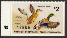 Mississippi Duck Stamp 1985 Mallards Horizontal serial number with no silver bar