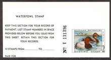 Michigan Duck Stamp 1977 Canvasbacks with survey tab