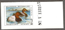 Michigan Duck Stamp 1977 Canvasbacks with plate # with tab attached