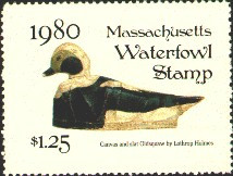 Massachusetts Duck Stamp 1980 Old Squaw Stamp portrays decoy