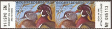 Maryland Duck Stamp 1979 Wood Ducks Horizontal Pair with serial numbers
