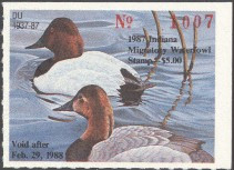 Indiana Duck Stamp 1987 Canvasbacks