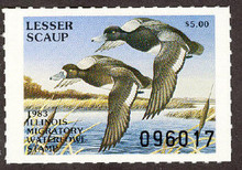 Illinois Duck Stamp 1983 Lesser Scaup XF Perforated 4 sides