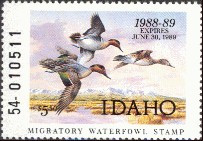 Idaho Duck Stamp 1988 Green - Winged Teal