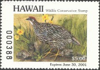 Hawaii Duck Stamp 2000 Erckel's Francolin