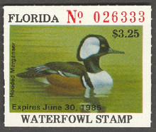 Florida Duck Stamp 1984 Hooded Merganser Deep Green Lime Color with parcially formed 'A'