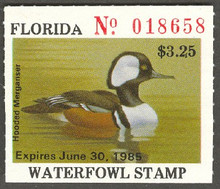 Florida Duck Stamp 1984 Hooded Merganser with parcially formed 'A'