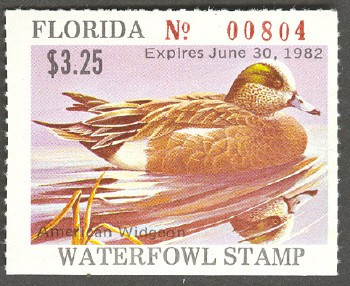 Florida Duck Stamp 1981 American Wigeon Rare EXTREME OFF COLOR variety