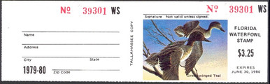 Florida Duck Stamp 1979 Green - Winged Teal with full tab