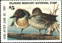 Delaware Duck Stamp 1990 Green - Winged Teal