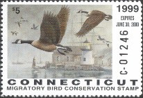 Connecticut Duck Stamp 1999 Canada Geese / Lighthouse (Serial # C)