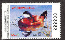 Alabama Duck Stamp 2001 Ruddy Duck