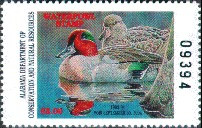 Alabama Duck Stamp 1993 Green - Winged Teal