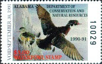 Alabama Duck Stamp 1990 Wood Ducks