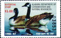 Alabama Duck Stamp 1986 Canada Geese