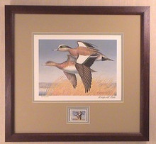 Washington Duck Stamp Print 1989 American Widgeon by Maynard Reece Framed