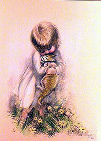 Girl and Cat by M Zapp