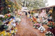 Cuernavaca Flower Market - Artist Proof - LIMITED EDITION PRINT by Clark Hulings 26.25 x 17.5