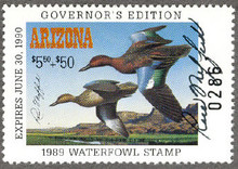 Arizona Duck Stamp 1989 Governor Edition Hand Signed