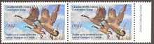 Canada Duck Stamp 1987 Canada Geese Horizontal pair with selvage