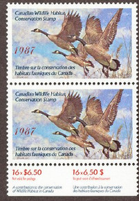 Canada Duck Stamp 1987 Canada Geese Vertical pair with selvage