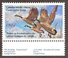 Canada Duck Stamp 1987 Canada Geese Sheet type with selvage
