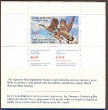 Canada Duck Stamp 1987 Canada Geese Booklet