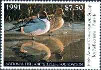 National Fish and Wildlife Duck Stamp 1991 Pintails.