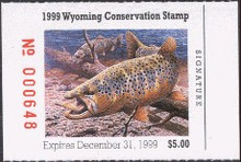 Wyoming Duck Stamp 1999 Brown Trout