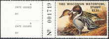Wisconsin Duck Stamp 1982 Pintails with agency tab
