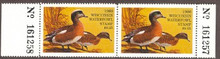 Wisconsin Duck Stamp 1980 American Wigeon Horizontal pair with left and right serial # tabs both sides