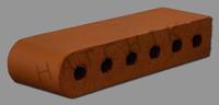 "T7000 BRICK COPING  SBN  SUNSET RED 3-1/2"" X 2-3/16"" X 11-1/2"