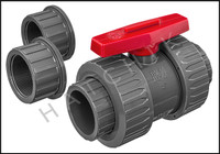 V1492 TVI TRUE UNION/SAFETY BLOCK 2 BALL VALVE  SLIP X SLIP  PVC
