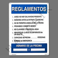 "X4039 SIGN- ""POOL RULES"" IN SPANISH SIGN-SPAN ""REGLAMENTOS""POOL RU"