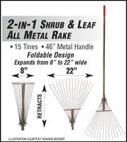 "F5099 LEAF RAKE 2 IN 1 SHRUB & LEAF ALL METAL RAKE 8"" TO 22"" FOLDABLE"