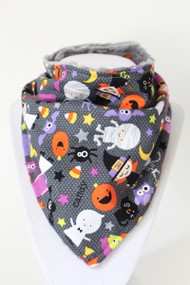 Halloween kids bandana bib with grey minky back