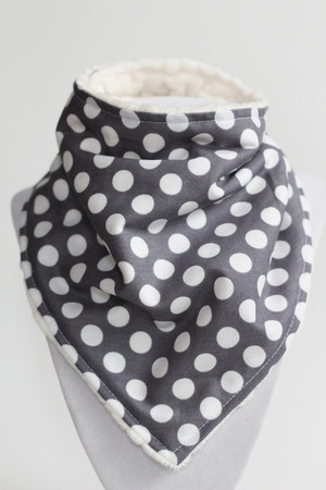 Grey Dot bandana bib with ivory minky inside.